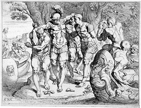 Lotus-eaters-18th-century French engraving of Odysseus (Ulysses) on the island of the lotus-eaters.