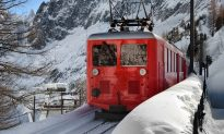 Men Spot Something Get Buried in Snow As Train Passes By, Start Digging to Save Its Life