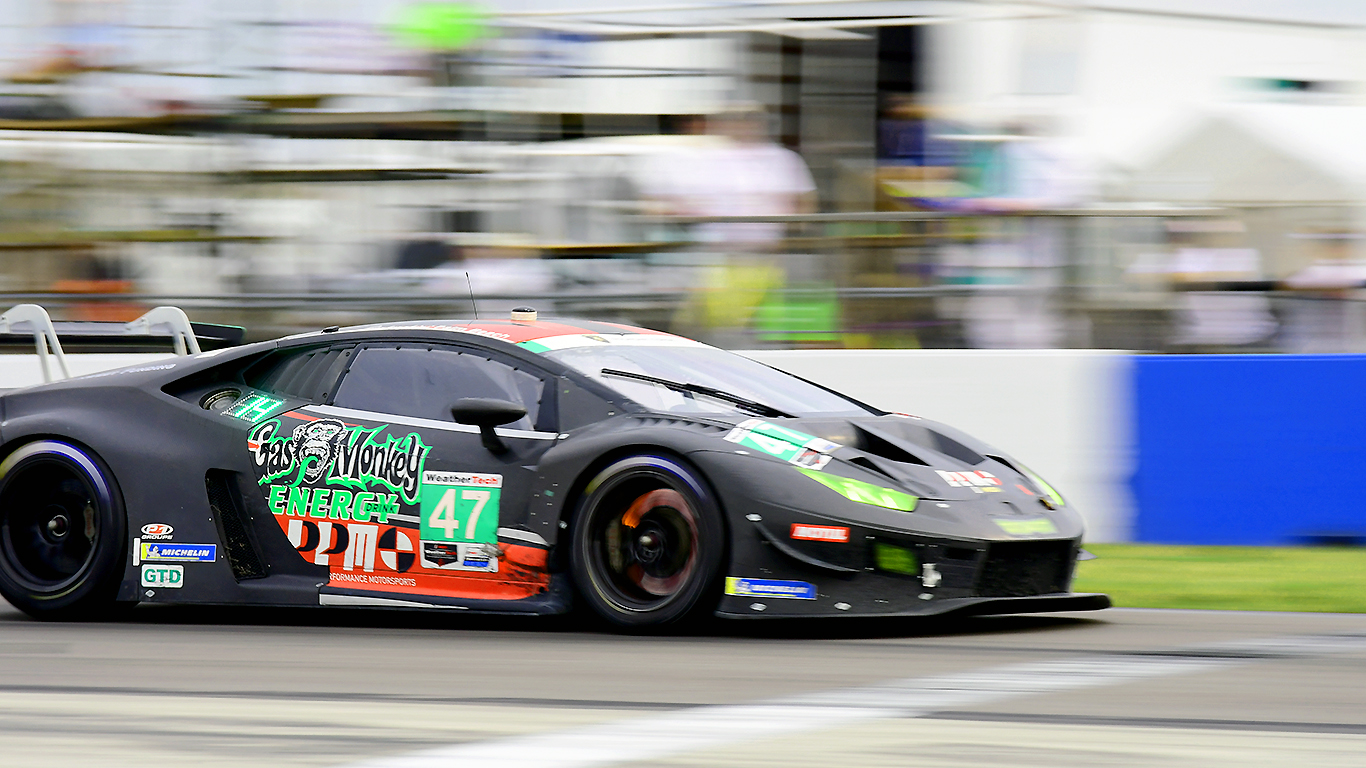 The #47 Precision Performance Motorsports Lamborghini lights up its brake rotors.