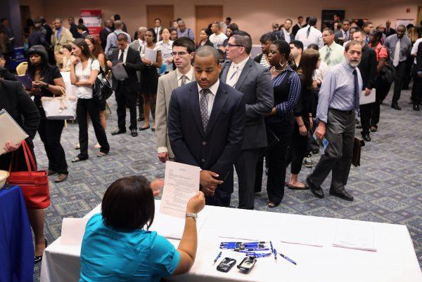 Job applicants line up