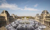 Visitors Ruin Artwork Outside Louvre Museum in Paris