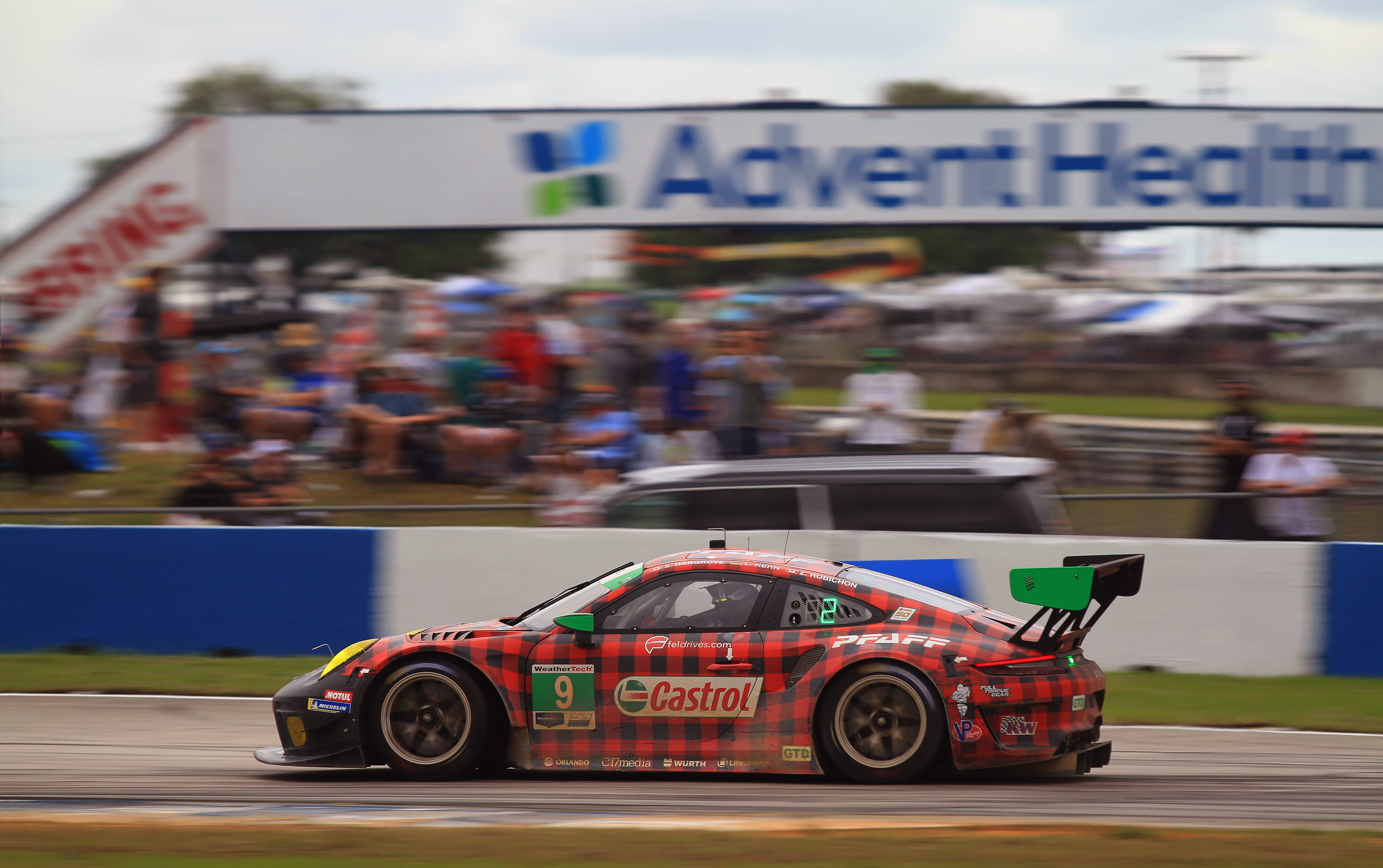 The #9 Pfaff Porsche led the GTD through much of the first 220-odd laps