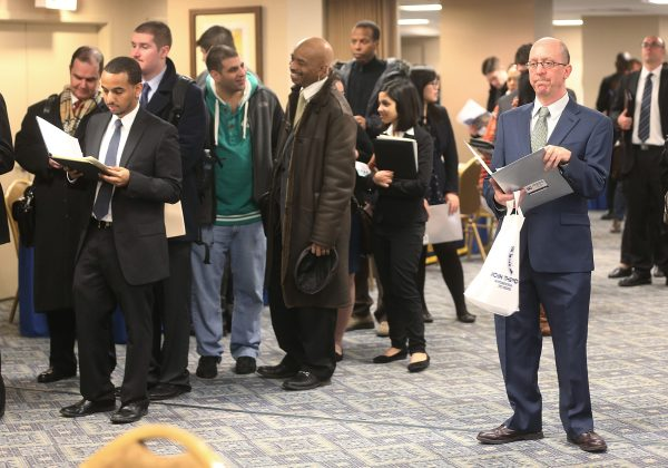 Applicants wait to meet potential employers