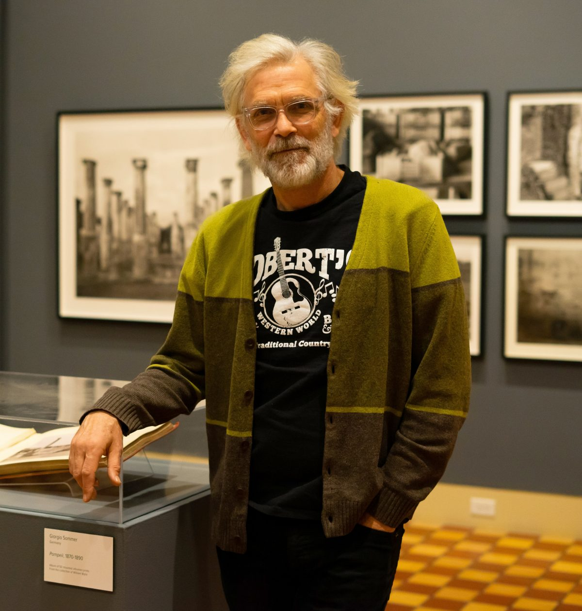 Man at photo exhibition