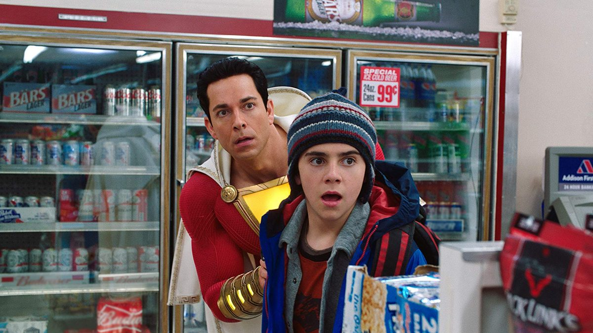 superhero and boy in convenient store