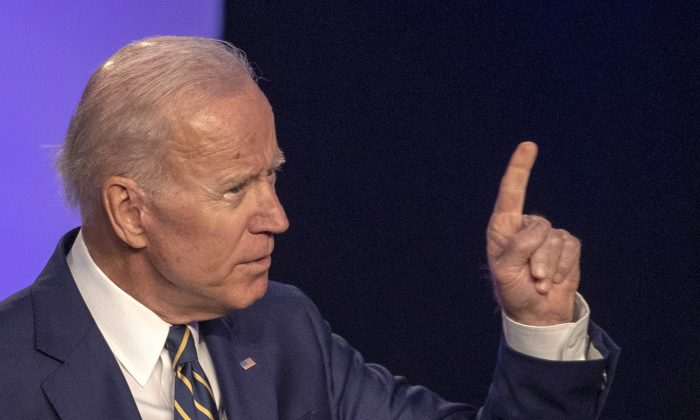 Former Vice President Joe Biden  speaks at the International Brotherhood of Electrical Workers Construction and Maintenance conference on April 05, 2019 in Washington. (Tasos Katopodis/Getty Images)