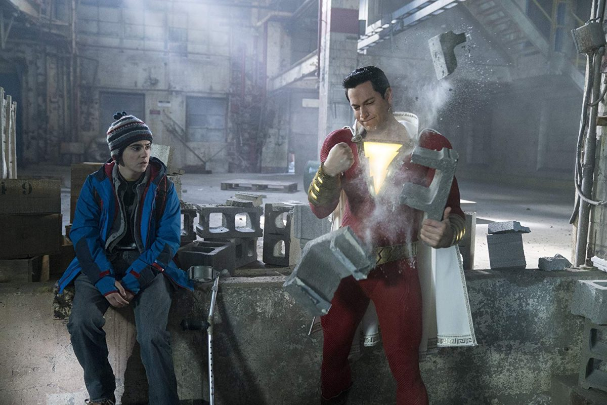Superhero breaks cinderblocks