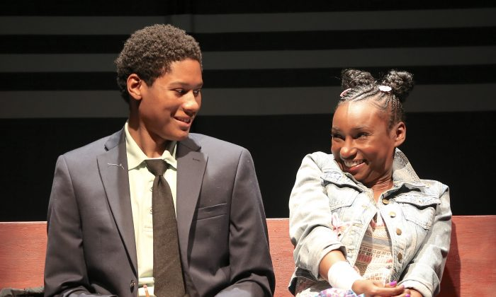 """The two 12-year-olds Tino and Deja are played by the young adults Jay Mazyck and Courtney Thomas in """"Surely Goodness and Mercy."""" (Carol Rosegg)"""
