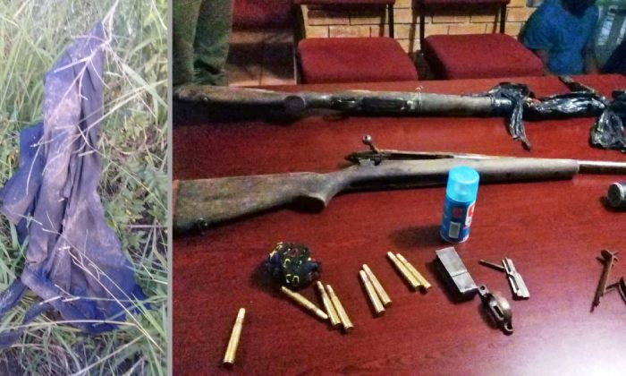 Clothing remains and weapons left behind after a suspected rhino poacher was eated by lions at Kruger National Park, South Africa, on April 6, 2019. (Courtesy of South African Police Service)