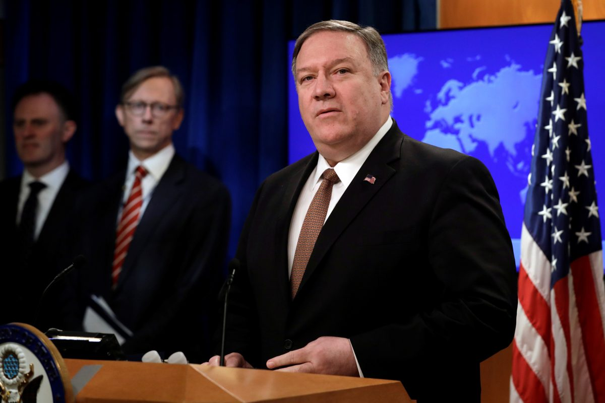 Secretary of State Mike Pompeo speaks during a briefing on Iran at the State Department in Washington