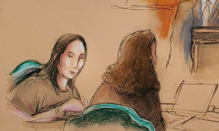Yujing Zhang (L), charged with bluffing her way into President Donald Trump's Florida resort, appears at her hearing at the U.S. federal court in this courtroom sketch, in West Palm Beach, Florida, on April 8, 2019. (Reuters/Daniel Pontet)