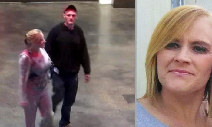 Victim Alana Zuccaro (L and R headshot), 43, and suspect Robert McPhearson,33, leaving a casino in Louisiana on March 20, 2019. (St. Landry Parish Sheriff's Office)