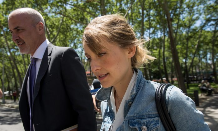 Actress Allison Mack arrives at the U.S. District Court for the Eastern District of New York for a status conference, June 12, 2018, in the Brooklyn borough of New York City. (Drew Angerer/Getty Images)