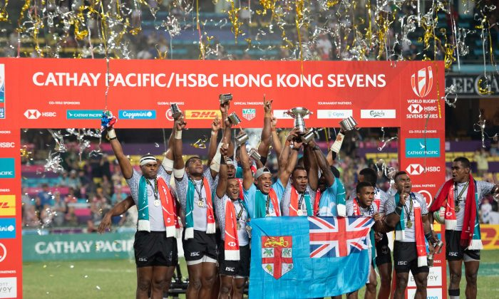 Fiji made history by completing five consecutive wins at the Cathay Pacific/HSBC Hong Kong Sevens 2019 on April 7. Many Fiji supporters descend on Hong Kong for the Sevens and the Fiji team responds accordingly, showing outrageous skills and entertaining performances . Fiji beat France 21-7 in the Final. (Bill Cox/Epoch Times)