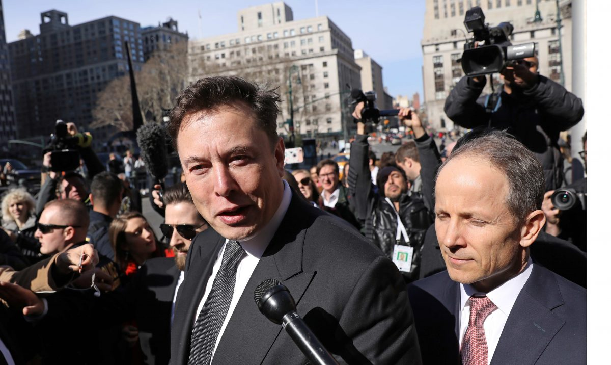 Tesla CEO Elon Musk leaves Manhattan federal court after a hearing on his fraud settlement with the SEC in New York