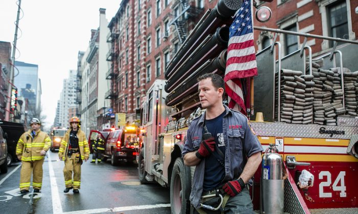 A firefighter in the East Village in New York City, on March 26, 2015.  (Samira Bouaou/Epoch Times)