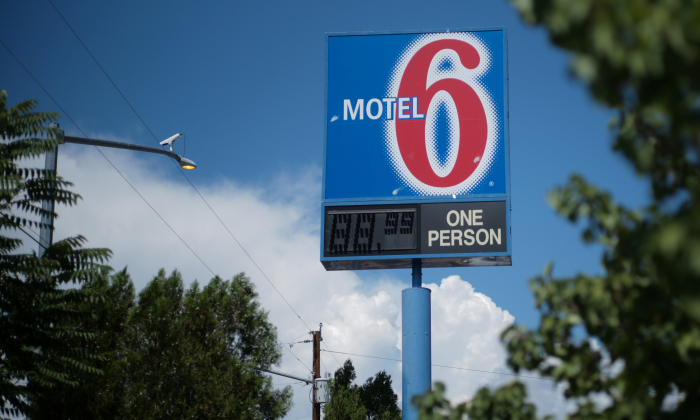 A sign marks a Motel 6 property on July 11, 2018, in Espanola, N.M. (Brian Snyder/Reuters)