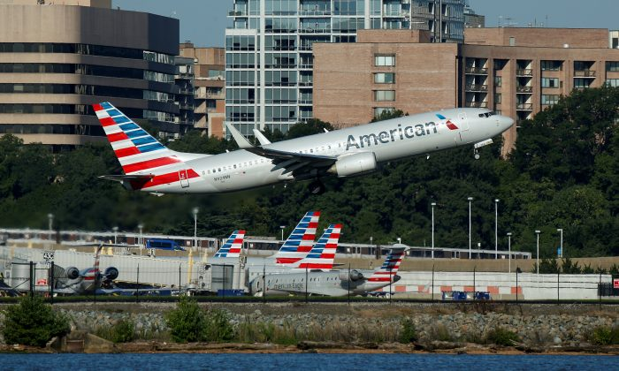 An American Airlines jet takes off from Washington National Airport on Aug. 9, 2017. REUTERS/Joshua Roberts
