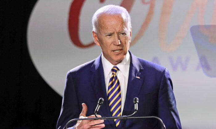 Former vice president Joe Biden speaks at the Biden Courage Awards in New York on March 26. (Frank Franklin II/AP Photo)