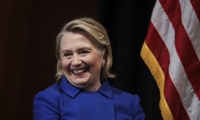 Former Secretary of State Hillary Clinton at Barnard College, in New York City on January 7, 2019. (Drew Angerer/Getty Images)