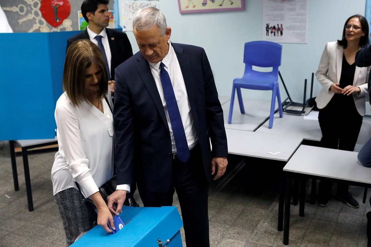 Benny Gantz, leader of Blue and White party, and his wife Revital cast their ballots