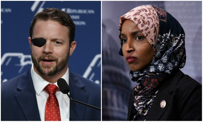 Rep. Dan Crenshaw called out Rep. Ilhan Omar for her comments about 9/11. (Ethan Miller/ Getty Images and Alex Wong/Getty Images)