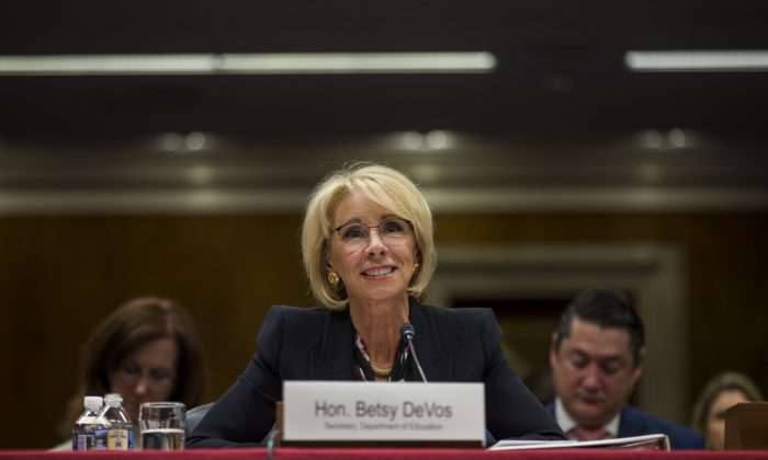 Secretary of Education Betsy DeVos testifies during a Senate Labor, Health and Human Services, Education and Related Agencies Subcommittee discussing proposed budget estimates and justification for FY2020 for the Education Department  in Washington on March 28, 2019. (Zach Gibson/Getty Images)