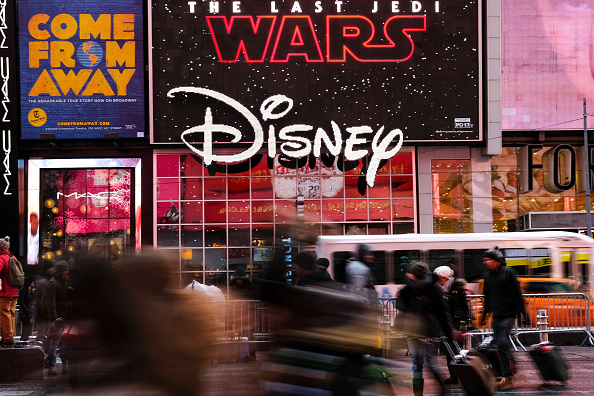 The Disney logo outside the Disney Store in Times Square in New York on Dec. 14, 2017. Drew Angerer/Getty Images