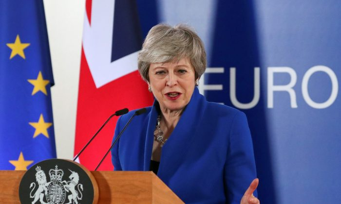 British Prime Minister Theresa May holds a news conference following a European Union leaders summit to discuss Brexit, in Brussels, Belgium April 11, 2019. (Reuters/Yves Herman)
