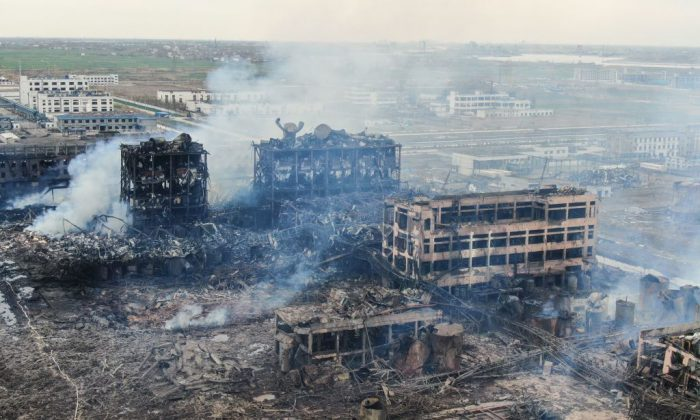 An aerial view shows damaged buildings after an explosion at a chemical plant in Yancheng in China's eastern Jiangsu province early on March 22, 2019.(STR/AFP/Getty Images)