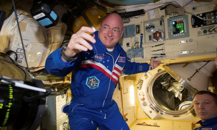 NASA astronaut Scott Kelly is shown with flight engineer Sergey Volkov (R) from the International Space Station in this NASA image released on Feb. 29, 2016. (NASA/Handout/Reuters)