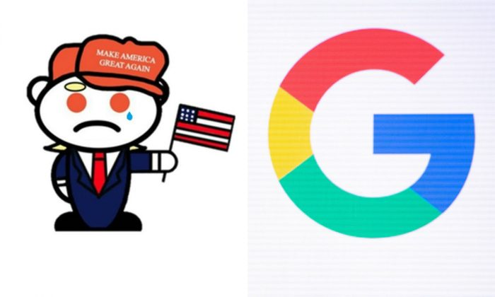L: Illustration of a Reddit mascot fashioned as a supporter of President Donald Trump. (Image via Reddit); R: Google logo on display during the Game Developers Conference at Moscone Center in San Francisco, on March 19, 2019. (Josh Edelson/AFP/Getty Images)