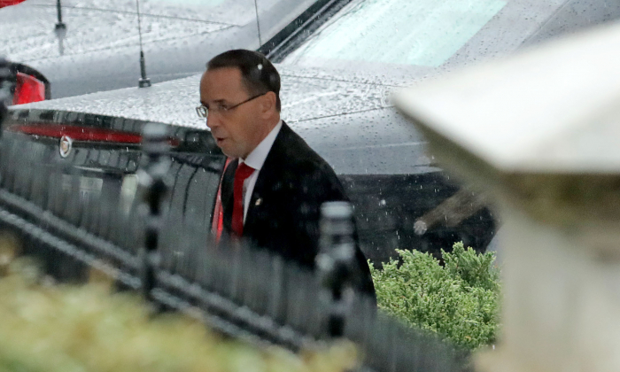 Deputy Attorney General Rod Rosenstein arrives for a meeting at the White House March 21, 2019 in Washington. (Chip Somodevilla/Getty Images)