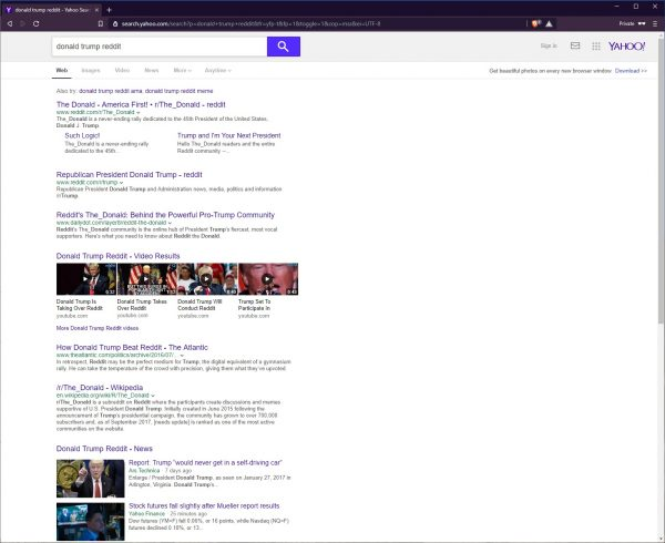 """Yahoo search results for the words """"donald trump reddit"""""""