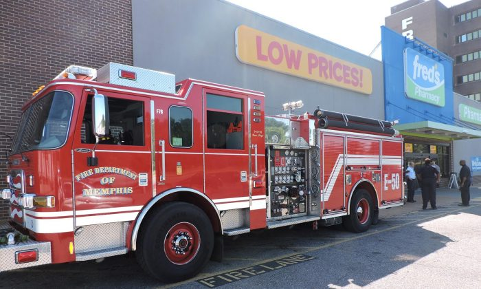 Memphis Fire Department truck at Fred's discount store in Memphis, Tenn., on Sept. 20, 2018 (Courtesy of Fred's)