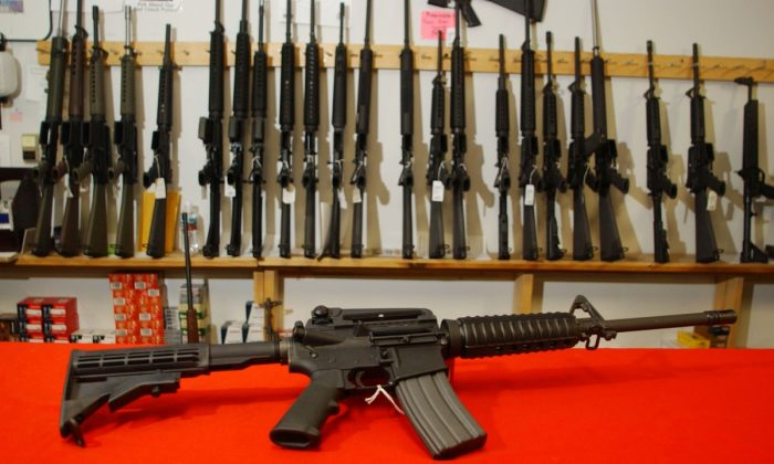 A Colt AR-15 on the counter of Dave's Guns in Denver, Colo, on Sept. 13, 2004. (Thomas Cooper/Getty Images)