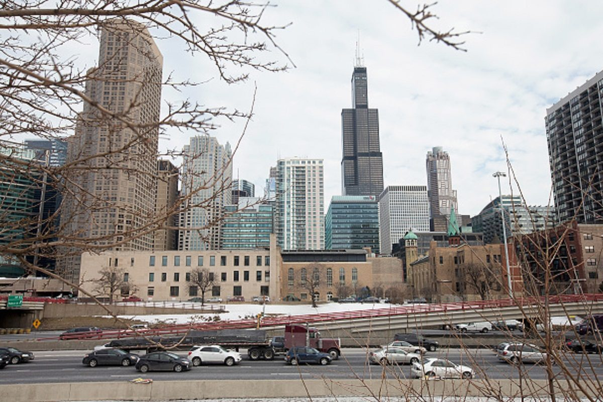 The Willis Tower, formerly known as the Sears Tower, dominates the southern end of the downtown skyline in Chicago,