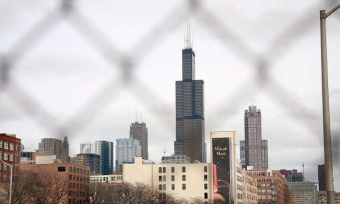 The Sears Tower rises above other buildings in the skyline in Chicago, Ill., on March 12, 2009. (Scott Olson/Getty Images)