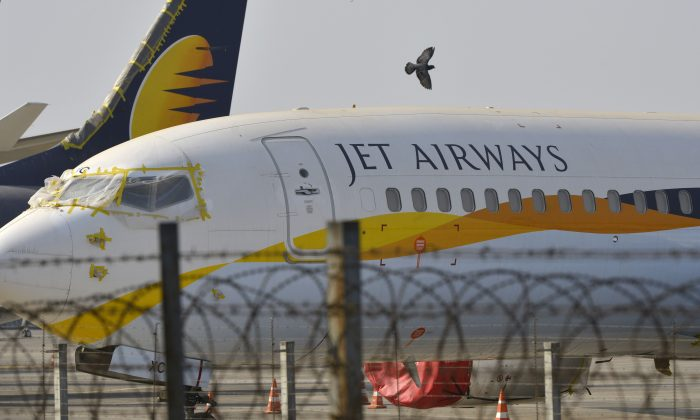 Jet Airways aircraft are seen parked on the tarmac at Chattrapati Shivaji International Airport in Mumbai, on March 25, 2019. (Punit Paranjpe/AFP/Getty Images)