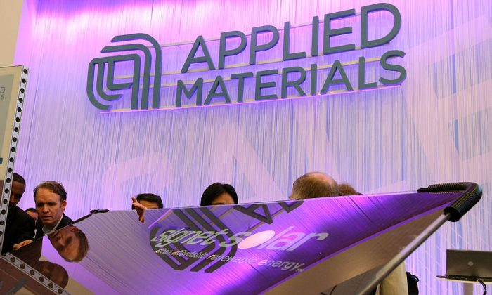 An Applied Materials solar panel is displayed at the Intersolar North America conference in San Francisco, California, on July 16, 2008 (Justin Sullivan/Getty Images)