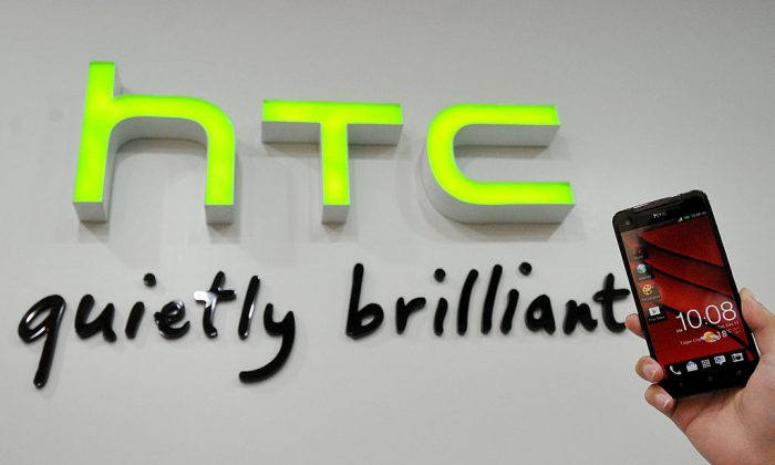 A HTC Butterfly phone is displayed at a HTC store in the New Taipei City on Jan. 7, 2013. (Mandy Cheng/AFP/Getty Images)