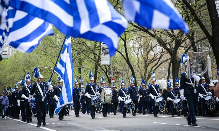 The annual Greek Independence Day Parade on Fifth Avenue in New York City on April 14, 2019. (Samira Bouaou/The Epoch Times)