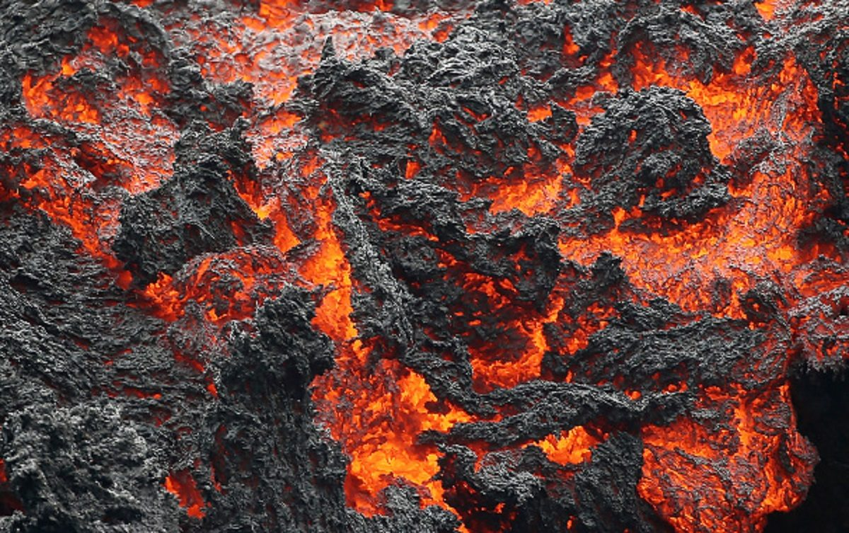 Lava flows at a lava fissure in the aftermath of eruptions