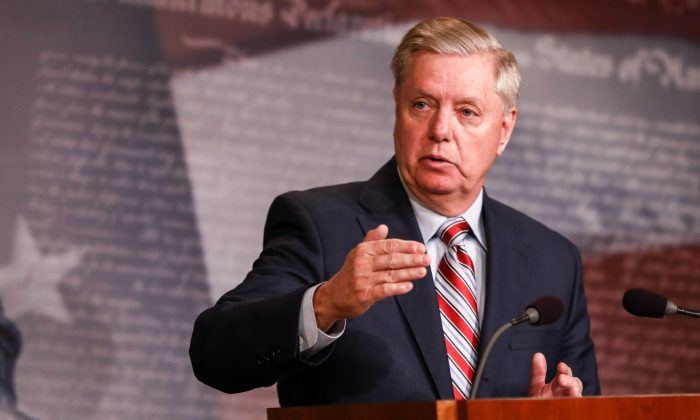 Sen. Lindsey Graham at the Capitol in Washington on March 25, 2019. (Charlotte Cuthbertson/The Epoch Times)