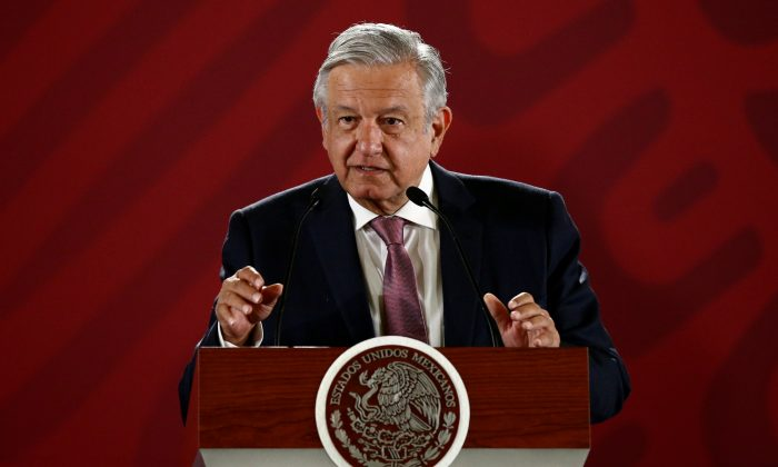 Mexico's President Andres Manuel Lopez Obrador during a news conference at the National Palace in Mexico City, Mexico, on April 15, 2019. (Edgard Garrido/Reuters)