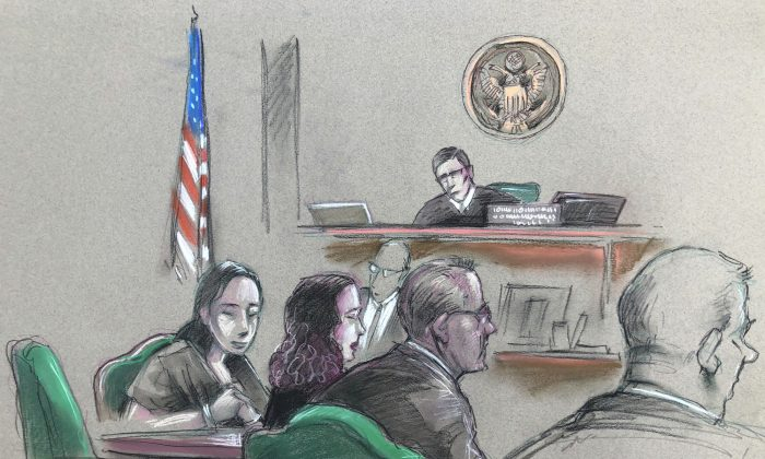 In this artist sketch, a Chinese woman, Yujing Zhang, left, listens to a hearing before federal Magistrate Judge William Matthewman in West Palm Beach, Fla. on April 15, 2019. Secret Service agents arrested the 32-year-old woman on March 30 after they say she gained admission by falsely telling a checkpoint she was a member and was going to swim. (Daniel Pontet/AP)