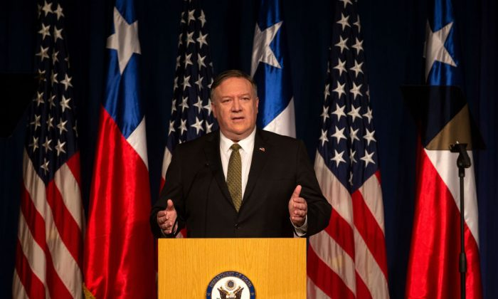 US Secretary of State Mike Pompeo delivers a speech in Santiago, Chile, on April 12, 2019. (Claudio Reyes/AFP/Getty Images)