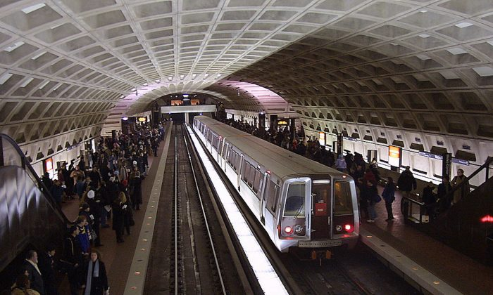 Patrons crowd the platform at the Washington Metropolitan Area Transit Authority's (WMATA) Metro Center stop in Washington, D.C. on Dec. 20, 2004. Thousands use the public transit system daily to get them in and around the D.C. area.  (Karen Bleier/AFP/Getty Images)