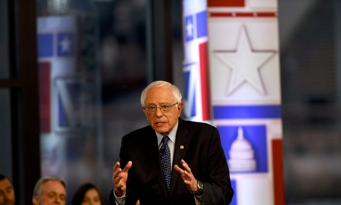 Democratic presidential candidate Sen. Bernie Sanders (I-Vt.) participates in a FOX News Town Hall at SteelStacks in Bethlehem, Penn., on April 15. (Mark Makela/Getty Images)
