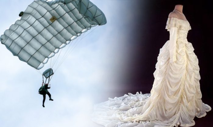 Wife of WWII Veteran Crafts Wedding Dress Out of the Parachute That Had Saved His Life